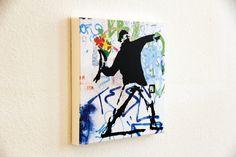 Flower Activist 40x40x4 cm Banksy, Urbane Kunst, Street Art, Flowers, Wall Prints, Hamburg, Canvas, Royal Icing Flowers, Flower