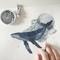 Whale Drawing, Whale Painting, Painting & Drawing, Art And Illustration, Illustrations, Whale Tattoos, Whale Art, Arte Sketchbook, Art Drawings Sketches