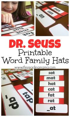 Practice reading and sorting word families with these FREE Dr. Seuss Word Family Hats. Included are word sorts for short and long vowels. | This Reading Mama