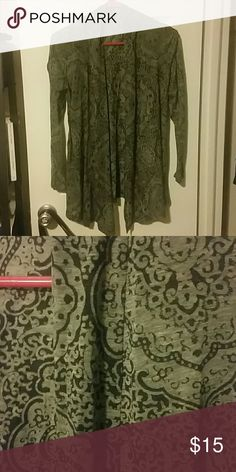 Casual Cardigan All bundles 30% off!   Cotton semi sheer waterfall cardigan. Gray and black medallion print. Gently used. Jackets & Coats