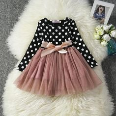 Long Sleeve Baby Girl Dress Newborn Infant Baby Girls Clothes Bow Dot Long Sleeve Polka Dots Tulle Tutu Ball Gown Party Dresses - Baby Boy Names Baby Girl Names Baby Girl Party Dresses, Dresses Kids Girl, Kids Outfits, Dress Party, Dress Girl, Dot Dress, Baby Girl Dress Patterns, Baby Clothes Patterns, Frock Design