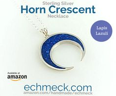 http://ift.tt/2stjrIw  Sterling Silver Natural Navy Blue Lapis Double Horn Crescent Moon Handcrafted Pendant 18'' Chain