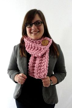 Light Pink Chunky Knit Cowl Scarf with Large Tan Button by LaurasLovelyKnits