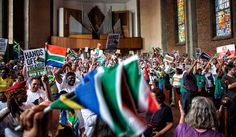2.10. State of Rapture – How the craziest day in SA history unfolded.Photo: Supporters of the Save South Africa movement listen to speeches in St Albans Church in Tshwane. (Shaun Swingler/Daily Maverick Chronicle)