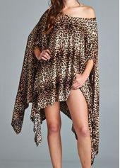 Leopard Skew Neck Asymmetric T Shirt Dress