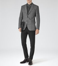Mens Grey Melange Weave Blazer - Reiss Newman