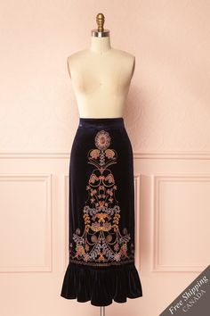 Germund / This velvet skirt is a perfect blend of elegance and hippie-chic! The embroidered details, the ruffles at the bottom and the rich color make this piece truly unique. For your comfort, there is also a light chiffon lining underneath. Wear it with a cute blouse or a soft camisole and you will be ready to start the season! #Boutique1861
