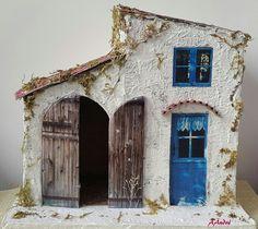 Maison de village pour la crèche de Noël en carton ondulé