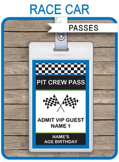* INSTANT DOWNLOAD * Blue Race Car Birthday Party Pit Crew Passes. Personalize at home and create a Pass for each guest coming to your Race Car Party!