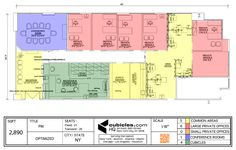 Office Layout with common areas, large private offices, conference room, and cubicles. #officelayout