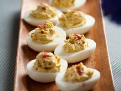 Deviled Eggs Recipe : Alton Brown : Recipes : Food Network I have made these before and they are seriously the best deviled eggs I have ever had- Renee Egg Recipes, Other Recipes, Easter Recipes, Gourmet Recipes, Vegetarian Recipes, Snack Recipes, Brown Recipe, Deviled Eggs Recipe, Recipes