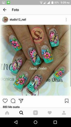 New Fails Design Cute Long Ideas Wow Nails, Cute Nails, Pretty Nails, Elegant Nail Art, Beautiful Nail Art, Nail Polish Art, Toe Nail Art, Spring Nail Art, Spring Nails
