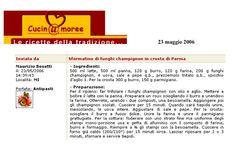 """Sformatino di funghi Champignon in crosta di Parma - """"CucinAmore"""" Maggio 2006"""