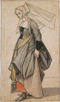 Another interesting contemporary costume study, this time by Hans Holbein the Younger. It's very unusual to see women's shoes in Medieval and Renaissance artwork, making information about them scarce. This is a young Englishwoman between 1526 and Tudor History, British History, Art History, Asian History, History Facts, Costume Renaissance, Die Renaissance, Die Tudors, Dinastia Tudor