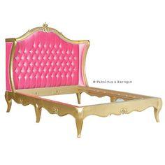 Amelie Pink Velvet Upholstered Bed - Gold Leaf