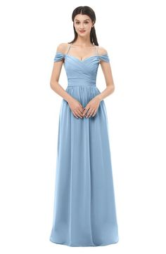 16cb9f4b3d ColsBM Amirah Dusty Blue Bridesmaid Dresses Halter Zip up Pleated Floor  Length Elegant Short Sleeve Dusty