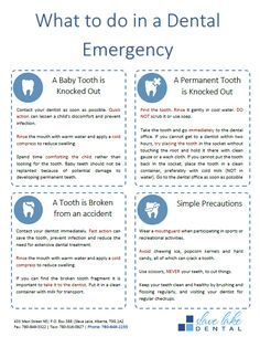 Free Printable Dental Emergency Guide from Slave Lake Dental Dental Health, Dental Care, Dental Hygienist, Tooth Extraction Aftercare, Dental Implant Surgery, Dental Emergency, Dental Facts, Dental Bridge, Cosmetic Dentistry