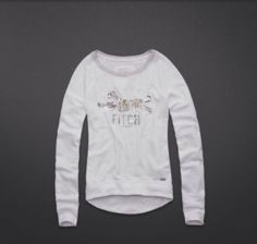 Abercrombie & Fitch Womans Ella Sweatshirt Sweater White Medium