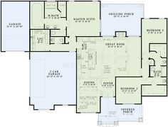 European Style House Plan - 3 Beds 2.5 Baths 2252 Sq/Ft Plan #17-2536 Floor Plan - Main Floor Plan - Houseplans.com
