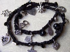 Crochet Wrap Beaded Charm Bracelet  Sweetheart by sewstacy on Etsy, $20.00