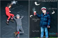 Our Most-Fun-Ever Holiday Photo Ideas 2012! Use chalkboard paint like Leslie Kerrigan did as a backdrop with tons of creative possibilities.