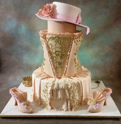 "This cake won 2nd prize at the ""Societe Culinarie Philantrophique Jacob Javits Center  Manhattan Competition""  ~ the  inspiration was Marie Antoinette.  All edible and pretty amazing!"