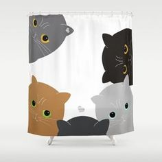 Cats Pets shower curtains Decortaive Gift for Her Children Kids Bath Beautiful…
