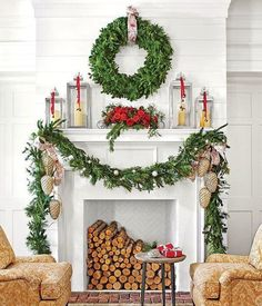50 Farmhouse Christmas Décor Ideas for A Country Holiday - 50 Farmhouse Christmas Decor Ideas – Country Christmas Decorations – Southern Living - Classic Christmas Decorations, Christmas Greenery, Christmas Fireplace, Farmhouse Christmas Decor, Christmas Mantels, Christmas Home, Christmas Wreaths, Silver Christmas, Christmas Living Room Decor