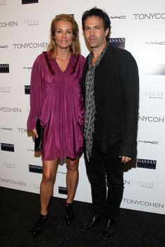 Model Frederique van der Wal and designer Tony Cohen attend Tony Cohen Spring 2010 fashion show at the Promenade at Bryant Park on September 14, 2009 in New York, New York.