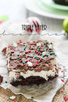 These Triple Layer Brownies are a delicious holiday dessert. The peppermint flavor goes along perfectly with the Christmas season. Three layers of deliciousness in one treat. Brownies are always welcome at any party!