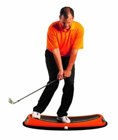 The concave bowl shape on this Orange Whip peel golf swing trainer naturally centers you into a balanced athletic position