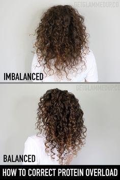 How to Correct Protein Overload & Balance Curly Hair Wavy Hair Care, Thin Curly Hair, Coarse Hair, Curly Hair Tips, Curly Girl, Curly Hair Styles, Natural Hair Styles, Curly Hair Plopping, Caring For Curly Hair