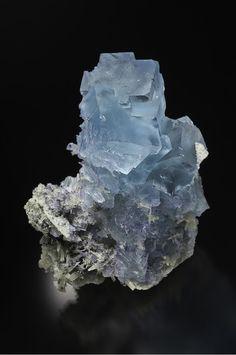 Fluorite on Calcite - Annabel Lee mine, Harris Creek Sub-District, Hardin Co., Illinois, USA Size: 10.4 cm h