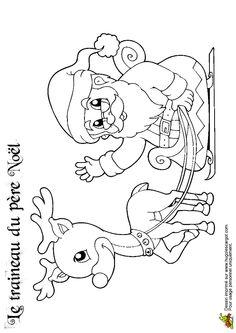 En cartoon, le Père Noël et Rudolf à colorier