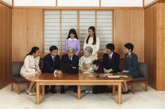 Family released for New Years 2015, January 3, 2015-seated l-r Crown Princess Masako, Crown Prince Naruhito, Emperor Akihito, Empress Michio, Prince Hisahito, Prince Fumihito, Princess Kiko; standing l-r Princess Aiko and Princess Kako