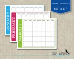 2018 Printable Monthly Wall Calendar Family Planner