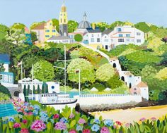 Portmeirion by Janet Bell Gallery - art and hand made crafts from the seaside Costa, Bell Art, England And Scotland, Naive Art, Large Prints, Home Art, Seaside, Illustrators, Art Gallery
