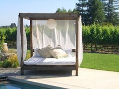 outdoor patio chaise daybed canopy lounge chair teak wood. Black Bedroom Furniture Sets. Home Design Ideas