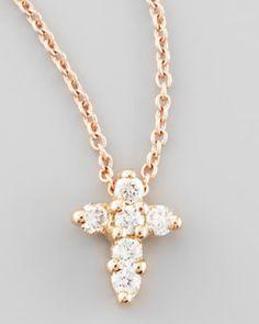 Y1MEP Roberto Coin Rose Gold Diamond Cross Necklace