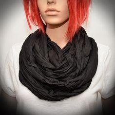 Black Silk scarf  Infinity scarf by Pixiesdance on Etsy, $19.00
