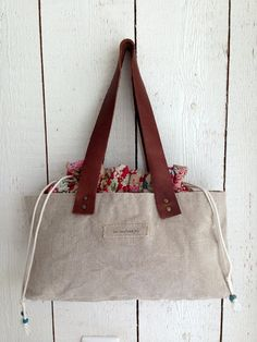 Canvas bag with leather handles, #day bag, #shoulder bag, #canvas bag by BooneStaakjeS