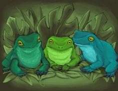 um grupo de sapos felizes