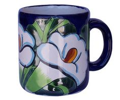 A old European talavera coffee cup belongs to our rustic home decor category. Its green and cobalt pattern painted over white background will add personality to the living space. by Rustica House #myRustica