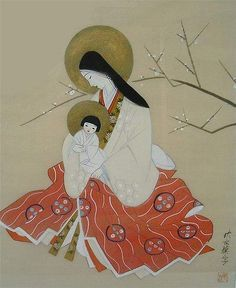 Unknown Artist, Madonna and Child Japanese painting on silk. Religious Images, Religious Icons, Religious Art, Japanese Painting, Japanese Art, Vintage Japanese, Japanese Icon, Japanese Style, Immaculée Conception