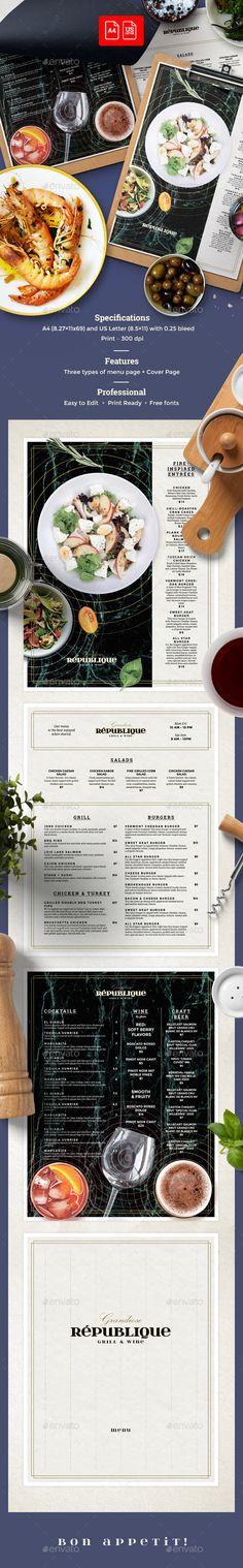 Restaurant Menu — Photoshop PSD #food #chalkboard • Download ➝ https://graphicriver.net/item/restaurant-menu/20482936?ref=pxcr