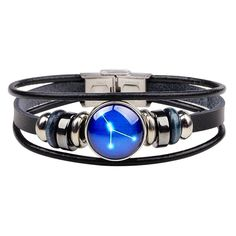 Comprar Twelve Constellations Bracelet Hand - Woven Retro Leather Wristband em Wish - Comprar ficou mais divertido Bracelet Clasps, Bangle Bracelets, Bracelet Men, Leather Bracelets, Constellations, Pandora, Zodiac Jewelry, Leather Wristbands, Michael Kors