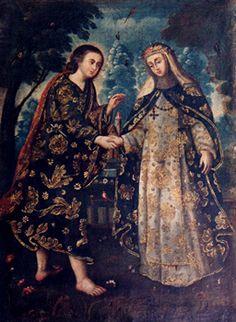 """Desposorios de Santa Rosa de Lima"" Escuela cuzqueña. Siglo XVIII. Óleo/lienzo.         Medidas: 83 x 63 cms."