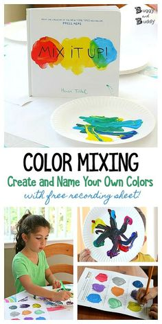 Explore color mixing by making your own colors and naming them on the free printable recording sheet. Color theory activity inspired by the popular children's book, Mix it Up! by Herve Tullet Art Lessons For Kids, Art Activities For Kids, Book Activities, Preschool Activities, Art For Kids, Preschool Art Lessons, Kindergarten Colors, Preschool Colors, Up Book