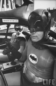 Burt Ward and Adam West photographed by Yale Joel on the set of the Batmanmovie, 1966.