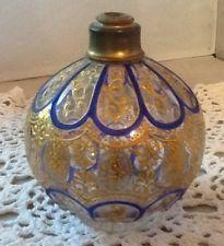 Gold Encrusted VTG Bohemian Moser Type Gilt Enameled With Cobalt Perfume Bottle